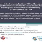 Civil Society Roundtable with Dr. Zeda Rosenberg, CEO, International Partnership for Microbicides (IPM) – 27 February