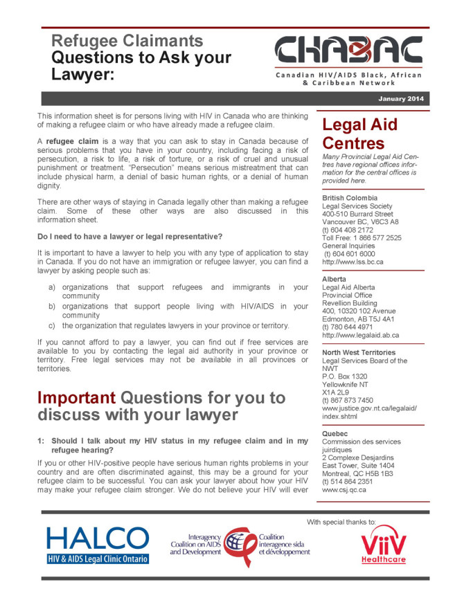 Refugee Claimants Questions to ask your Lawyer